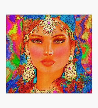 Abstract digital art of Indian or Asian woman's face Photographic Print