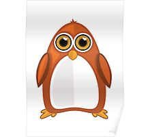 Brown Orange Penguin Poster