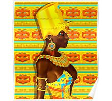 A powerful black Egyptian princess adorned in gold Poster