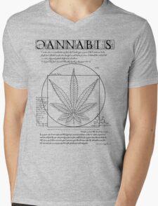 Vitruvian Cannabis Mens V-Neck T-Shirt