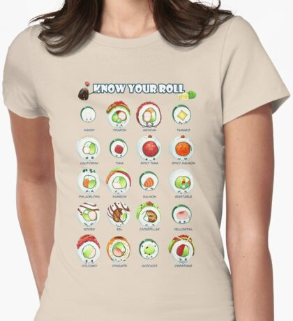 Know Your Roll - Cute Educational Sushi Womens Fitted T-Shirt