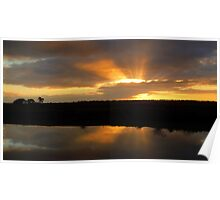 Sunset views over irrigation channel Poster