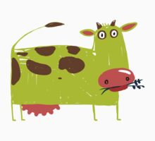 Green Cow Illustration One Piece - Long Sleeve