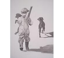 Boy with Lab and Puppy going home from hunt Photographic Print