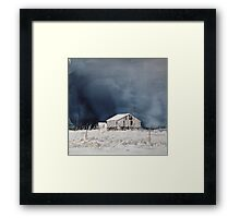 Barn in snow Framed Print