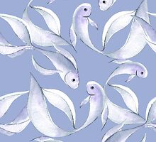 Watercolor fish pattern. Seamless by Gribanessa
