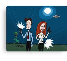 ZEEK ... The Martian Geek sneaks past Mulder to meet Scully Canvas Print