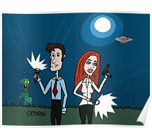 ZEEK ... The Martian Geek sneaks past Mulder to meet Scully Poster