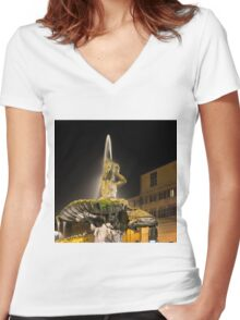Rome's Fabulous Fountains – Triton Fountain at Night Women's Fitted V-Neck T-Shirt