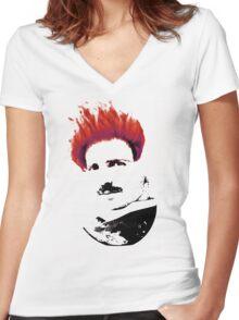 Nicola Tesla Punk Tea Women's Fitted V-Neck T-Shirt