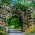 Dreamy Stone Bridge Collage by Debbie Robbins