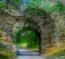Dreamy Stone Bridge Collage by Debbie Robbins