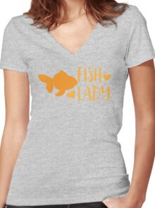 FISH LADY with cute goldfish Women's Fitted V-Neck T-Shirt