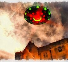 UFO - Over Stately Home by Raphael Terra by esotericaart