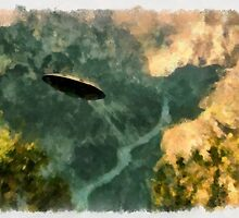 UFO - Coming Up the Valley by Raphael Terra by esotericaart