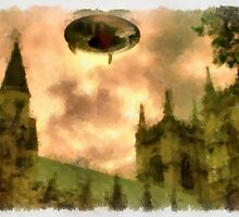 UFO - Over Cathedral by Raphael Terra by esotericaart