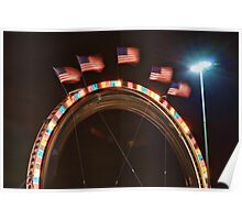 Five American Flags Poster