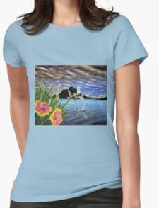 Doves and Hibiscus Flowers on a Tropical Island T-Shirt