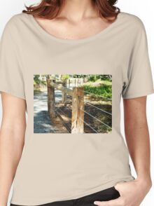 *New Post & Wire Fence around Walking path* Women's Relaxed Fit T-Shirt