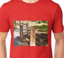 *New Post & Wire Fence around Walking path* Unisex T-Shirt