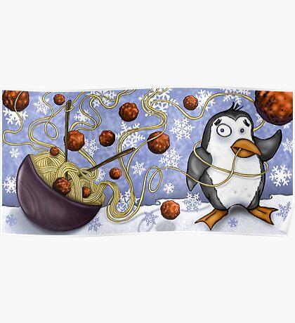 penguin and spaghetti  Poster