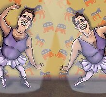 Arnold Schwarzenegger dancing in politics by Marie-Elena
