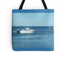 A large boat on its way out to sea for some fishing- Werribee Sth. Tote Bag