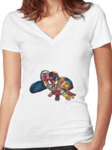 Spiderman on Acid Women's Fitted V-Neck T-Shirt