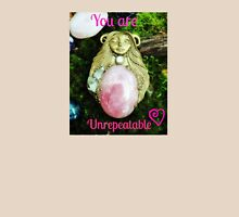 You are Unrepeatable by Nymph-ish Dryad Forest Faerie Rose Quartz Goddess with Quartz and Rainbow Moonstone Womens Fitted T-Shirt