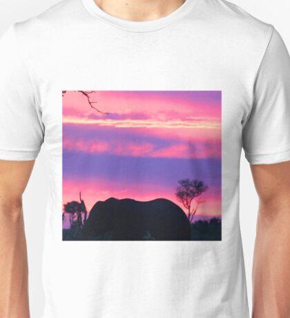 Elephant silhouette londolozi sunset Unisex T-Shirt