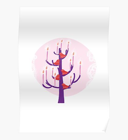 Tree,birds and candles  Poster