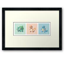 Pokemon Low Poly - 1st Gen Starters Framed Print