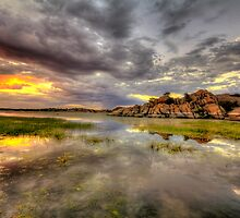 Sundown at Willow Lake by Bob Larson