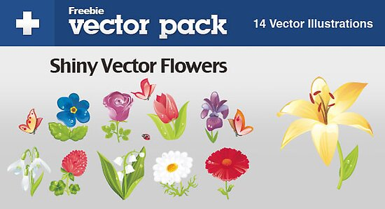 Shiny Vector Flowers Fee to Download by Anastasiia Kucherenko