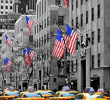 New York Taxis and Flags by Carl  Haynes