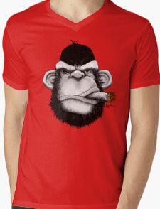 Cigar Monkey Mens V-Neck T-Shirt