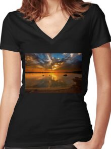 Elafonissos sunset - Crete island Women's Fitted V-Neck T-Shirt