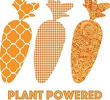 'Plant Powered' Carrot Design Vegan T-shirt by nemofish