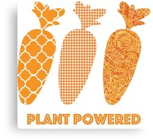 'Plant Powered' Carrot Design Vegan T-shirt Canvas Print