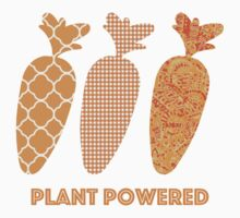 'Plant Powered' Carrot Design Vegan T-shirt One Piece - Long Sleeve