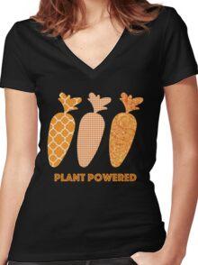 'Plant Powered' Carrot Design Vegan T-shirt Women's Fitted V-Neck T-Shirt