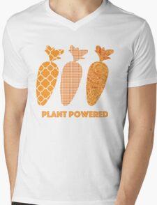 'Plant Powered' Carrot Design Vegan T-shirt Mens V-Neck T-Shirt