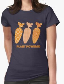 'Plant Powered' Carrot Design Vegan T-shirt Womens Fitted T-Shirt