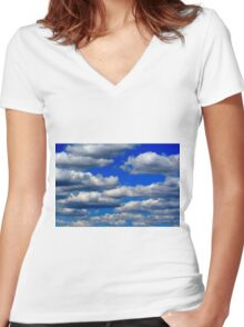 Cumulus Clouds Women's Fitted V-Neck T-Shirt