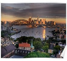 Kissed  # 2 - Sydney Harbour, Sydney Australia (30 Exposure HDR Panorama)- The HDR Experience Poster