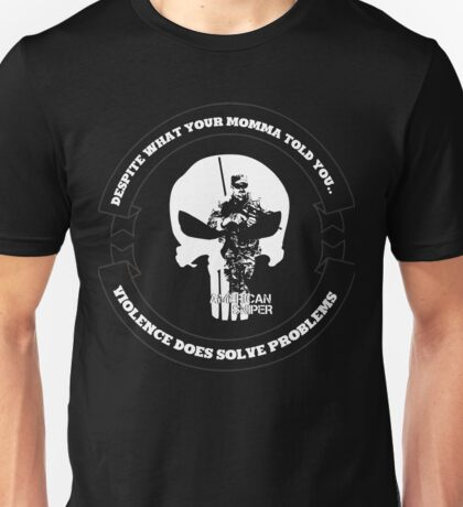 AMERICAN SNIPER CRAFT C.R.A.F.T. VIOLENCE SOLVE PROBLEMS DARK Unisex T-Shirt