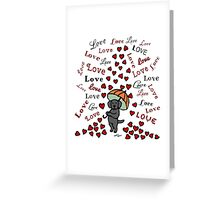 Black Labrador Rain of Hearts Greeting Card