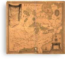 French Map of North America by J. B. L. Franquelin (1685) Canvas Print