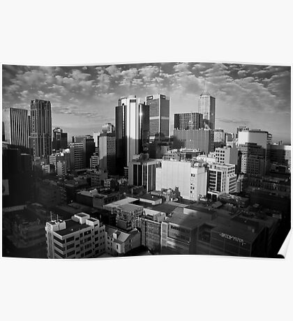 Melbourne Skyline Sunrise - Black & White Poster