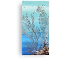 Seahorse in Moonglow Fan Coral Canvas Print